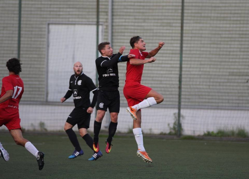 Riga United leading goalscorer Jānis Pakalns could not find the net on this occasion